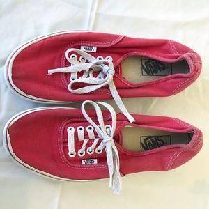 Red worn vans